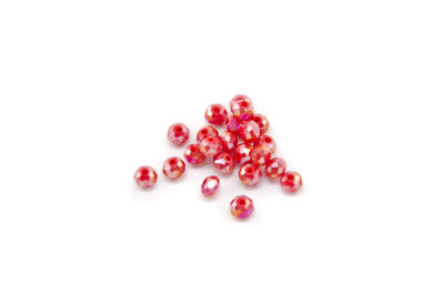 rondelle à facette 3x4mm rouge lustré opaque x100pcs