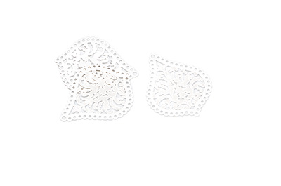 laser cut drop 21x25mm rhodium x20pcs