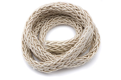 polyester braided cord 7x4mm beige x1 spool (approx 10m)