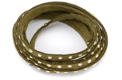suede band 5mm khaki with rivets gold x1 spool (5x1mtr)