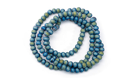 frosted round bead 3mm glass 3mm blue x2str