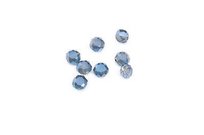 faceted glass bead 6mm, 72 Pieces blue x1str